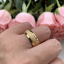 Load image into Gallery viewer, AMANOILE 6mm 8mm 18K Gold/Rose Gold Tungsten Carbide Rings for Men Women Wedding Bands Classic Domed Sandblasted Finish Comfort Fit