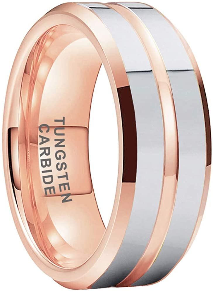 AMANOILE 6mm 8mm 18K Gold/Rose Gold Tungsten Carbide Rings for Men Women Wedding Bands Two Tones Beveled Edges Polished Shiny Comfort Fit
