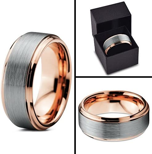 ASILLIA Tungsten Wedding Band Ring 8mm Men Women Comfort Fit 18k Yellow Rose Gold Black Grey Step Bevel Edge Brushed Polished