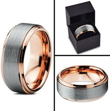 Load image into Gallery viewer, ASILLIA Tungsten Wedding Band Ring 8mm Men Women Comfort Fit 18k Yellow Rose Gold Black Grey Step Bevel Edge Brushed Polished