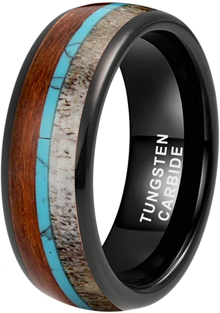 CAVANI 8mm Silver/Black/Rose Gold Tungsten Rings for Men Women Wedding Bands Deer Antler Koa Wood Turquoise Meteorite Inlay Domed Polished Shiny Comfort Fit