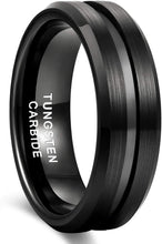 Load image into Gallery viewer, HATISHIA 8mm Mens Tungsten Ring Wedding Band  Engraved I Love You Thin Blue/Rose Gold/Black Center Groove Comfort Fit