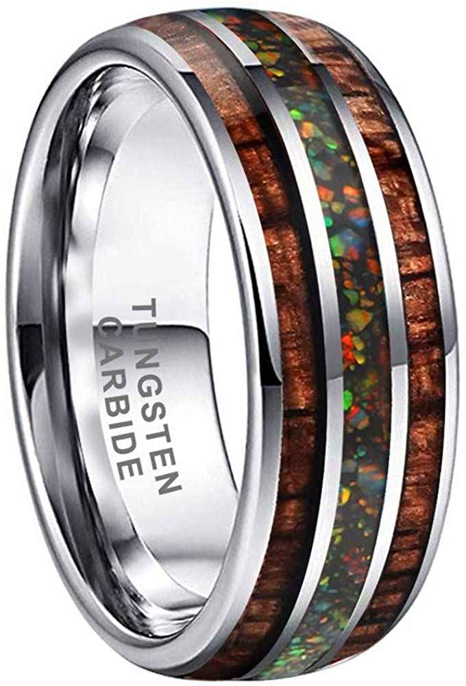 AMANOILE 8mm Tungsten Carbide Rings for Men Women with Galaxy Opal Stone and Koa Wood