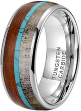 Load image into Gallery viewer, CAVANI 8mm Silver/Black/Rose Gold Tungsten Rings for Men Women Wedding Bands Deer Antler Koa Wood Turquoise Meteorite Inlay Domed Polished Shiny Comfort Fit