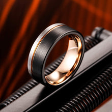 Load image into Gallery viewer, AMANOILE Silver & Black 8mm Men Tungsten Carbide Wedding Rings Rose-Gold Line Matte Comfort Fit Band