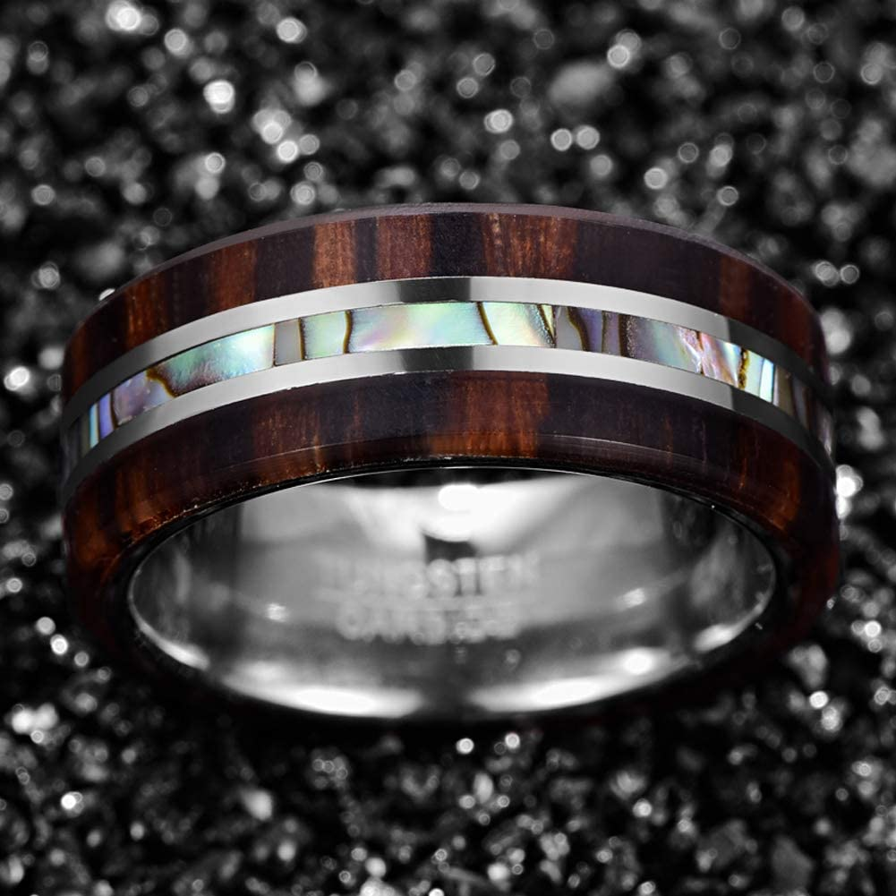 HATISHIA 8mm Wood and Abalone Shell Inlay Tungsten Carbide Rings Wedding Band for Men Comfort Fit Size 7-13