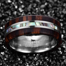 Load image into Gallery viewer, HATISHIA 8mm Wood and Abalone Shell Inlay Tungsten Carbide Rings Wedding Band for Men Comfort Fit Size 7-13