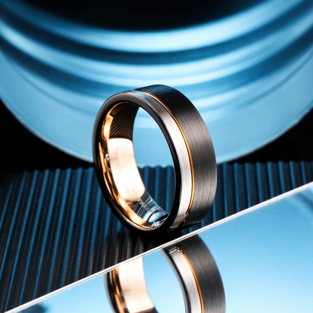 AMANOILE Silver & Black 8mm Men Tungsten Carbide Wedding Rings Rose-Gold Line Matte Comfort Fit Band