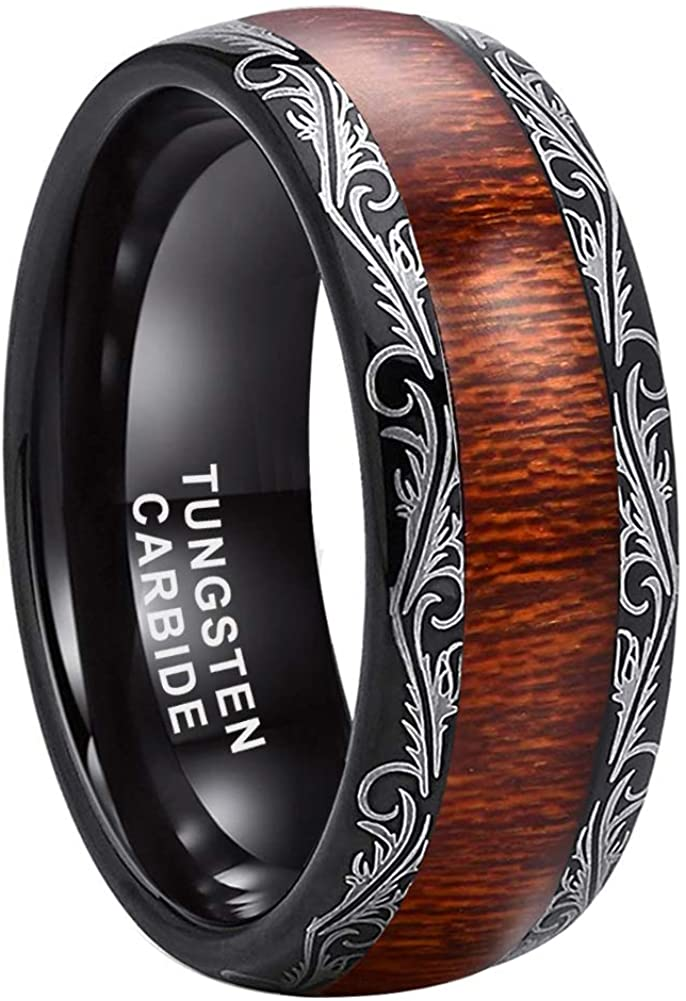 ASILLIA 8mm Silver/Black/Rose Gold Tungsten Rings for Men Women Wedding Bands Natural Koa Wood Inlay Polished Shiny Comfort Fit