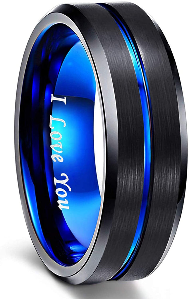 HATISHIA 8mm Mens Tungsten Ring Wedding Band  Engraved I Love You Thin Blue/Rose Gold/Black Center Groove Comfort Fit