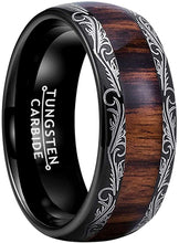 Load image into Gallery viewer, AMANOILE 8mm Silver/Black/Rose Gold Tungsten Carbide Rings for Men Women Wedding Bands Koa Wood Inlay Domed Polished Comfort Fit