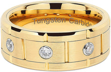 Load image into Gallery viewer, VERRA Tungsten Rings for Mens Gold Wedding Bands 3 CZ Inlaid, High quality, Super Sleek