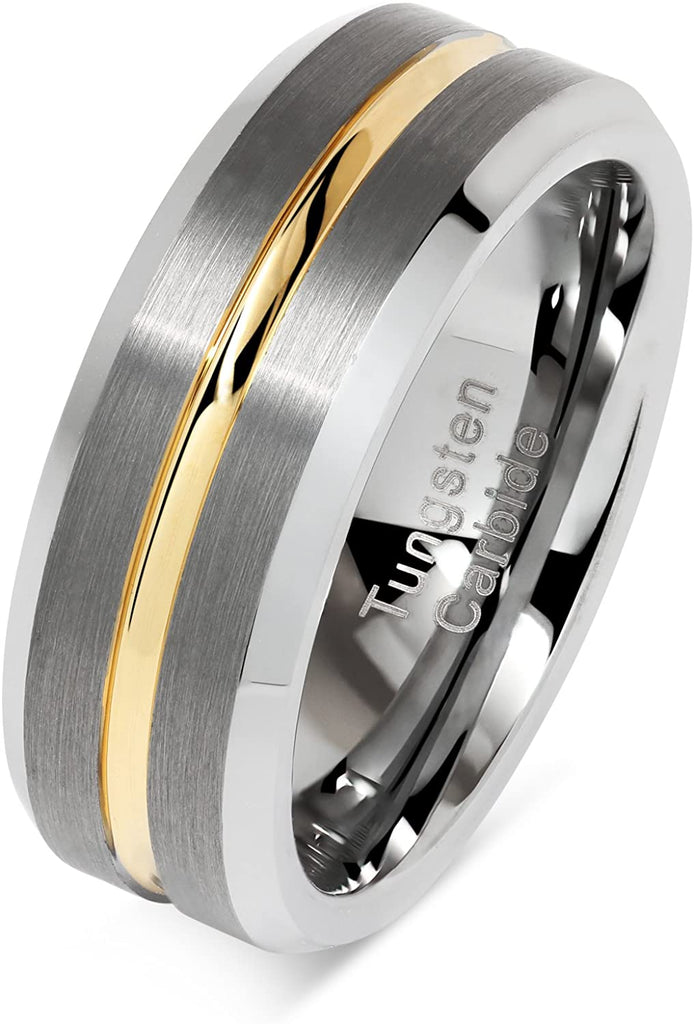 CAVANI Tungsten Rings for Men Two Tone Silver Wedding Bands Gold Grooved Matte Finish