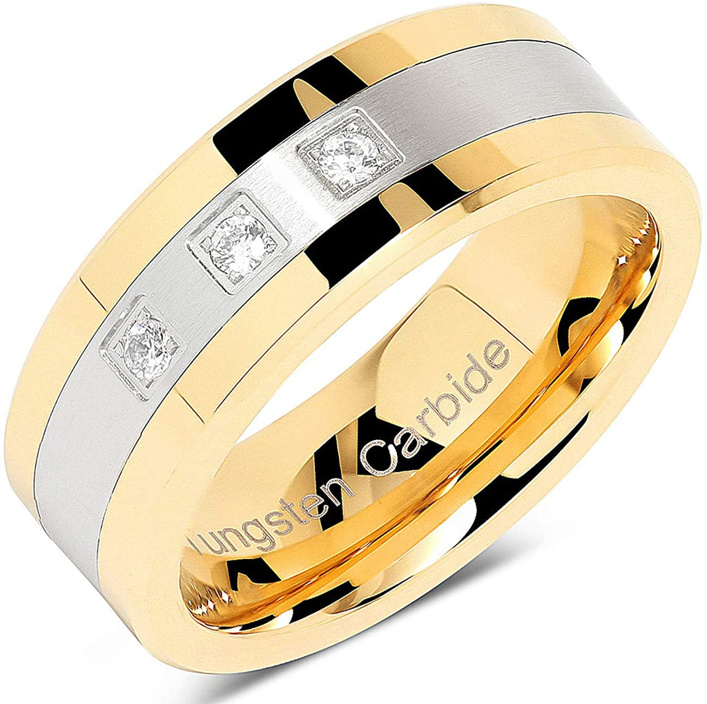 ASILLIA 8mm Tungsten Rings for Men Gold Silver Crystal Wedding Bands Two Tone 3 CZ Stone Promise Marriage