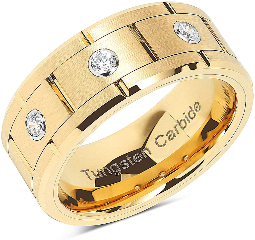 VERRA Tungsten Rings for Mens Gold Wedding Bands 3 CZ Inlaid, High quality, Super Sleek