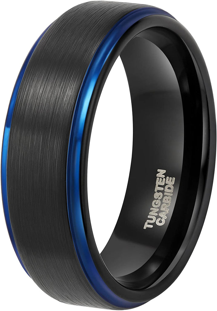 ASILLIA 8mm Mens Tungsten Ring Black Blue Two Tone Brushed Finish Stepped Edge Comfort Fit Size 6-13