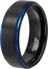 Load image into Gallery viewer, ASILLIA 8mm Mens Tungsten Ring Black Blue Two Tone Brushed Finish Stepped Edge Comfort Fit Size 6-13
