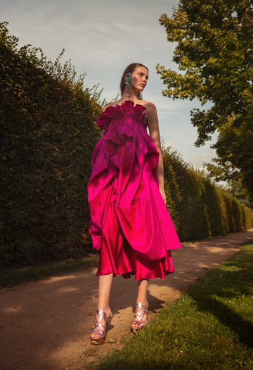 FUCHSIA SILK TAFFETA AND SATIN DRESS