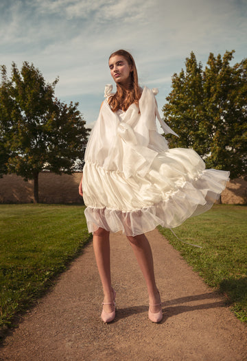 LEILA SILK ORGANZA & PONGEE DRESS