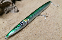 Load image into Gallery viewer, KZ-BR200 Sinking Garfish Handmade Lure 55g 20cm BKK Hooks for Spinning, Topwater Surface, and Saltwater Lure Pencil Bait