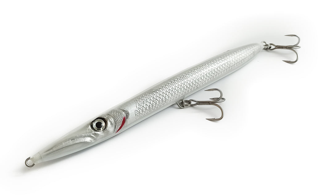 KZ-BR200 White Pearl Handmade Lure Pencil Bait 35g 20cm with BKK Hooks for Spinning, Topwater Surface, and Saltwater