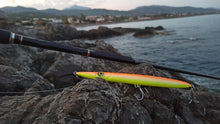 Load image into Gallery viewer, KZ-BR200 Sinking UV Orange Handmade Lure Pencil Bait 55g 20cm with BKK Hooks for Spinning, Topwater Surface, and Saltwater