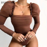 Double Layer Mesh Sexy Long Sleeve Mid Waist Bodysuits