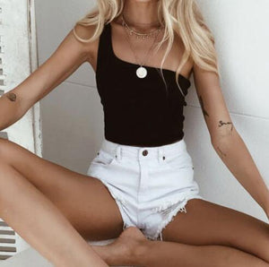 Women's Sleeveless Crop Tops Sexy One Shoulder Strappy Tees