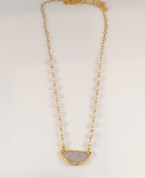 Pearl Druzy Necklace