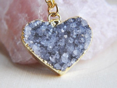 24kt Gold Plated Druzy Heart Pendants