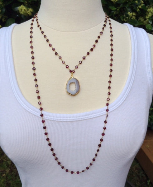 Druzy & Garnet Necklace