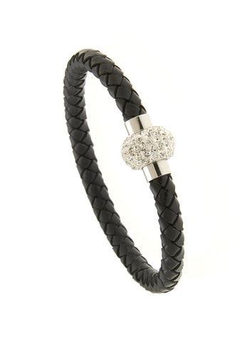Shamballa Black Leather Bracelet