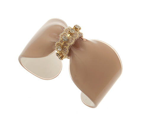 Lucite Bow Cuff with Silk Fabric