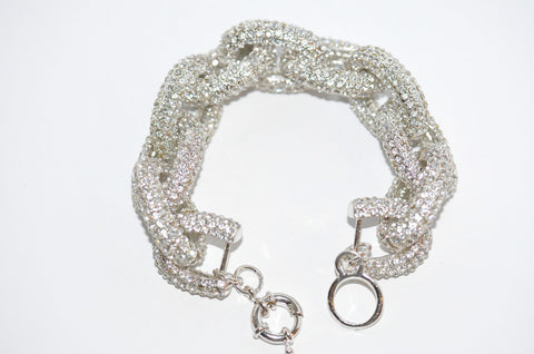Statement Pave Silver Plated Bracelet