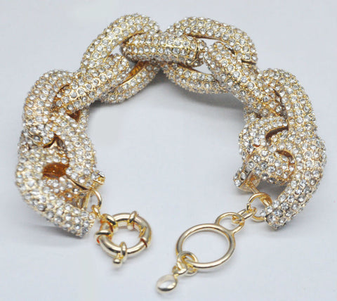 Statement Pave Gold Plated Bracelet