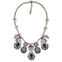 Crystal & Flower Statement Necklace