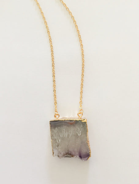 Gold Plated Crystal Quartz Druzy Necklace