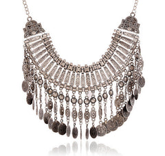 Coin Tassels Silver Statement Necklace