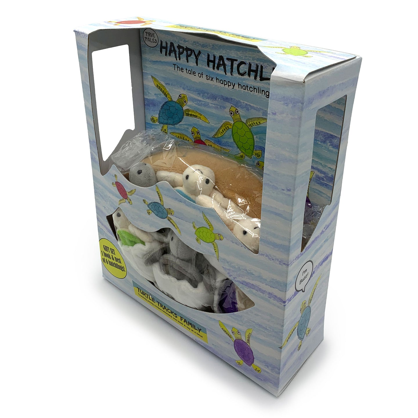 Happy Hatchlings: Storybook & Six Hatchling Turtle Plush Toys in a Nest (8 pieces) in Gift Box