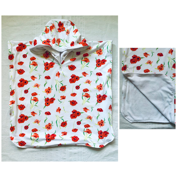Towel Poncho - Baby Terry & Poppies