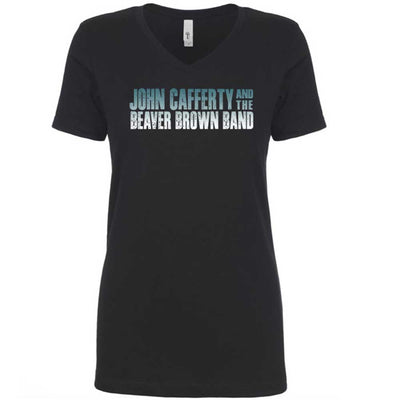 JOHN CAFFERTY Classic Logo Ladies V-Neck T-Shirt