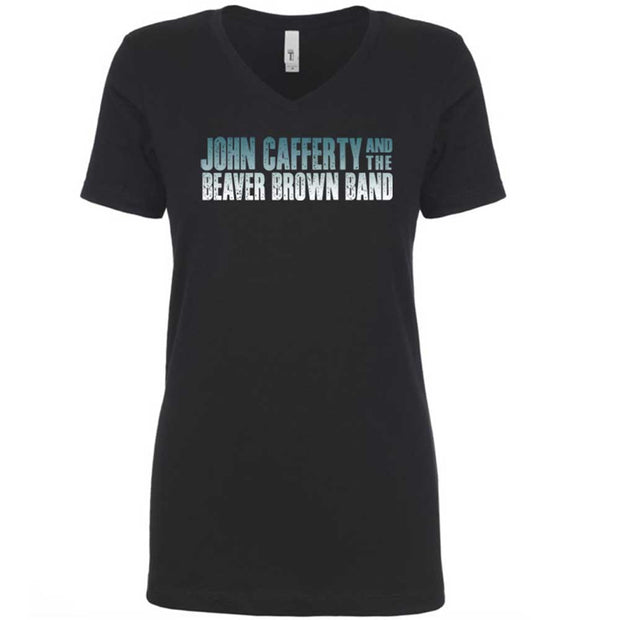 JOHN CAFFERTY Classic Logo Ladies Black V-Neck T-Shirt
