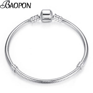 BAOPON high quality European style snake chain vintage silver-plated charm bracelet, suitable for DIY female jewelry thin bracelet