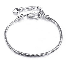 Load image into Gallery viewer, BAOPON high quality European style snake chain vintage silver-plated charm bracelet, suitable for DIY female jewelry thin bracelet