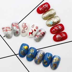New Fashion  Colorful 3D Nail Claus Back Glue laser Christmas Tree Decal