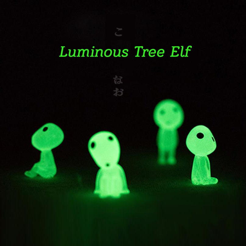 Cute Resin Decoration Micro Landscape 5pcs Princess Mononoke Mini Luminous Tree Elf Cartoon Toy Birthday Gift