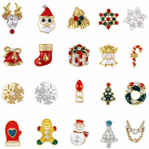 10PCS gold and silver Christmas ornaments glitter rhinestone nail supplies jewelry