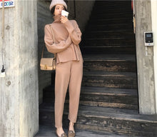 Load image into Gallery viewer, CBAFU knitted tracksuit turtleneck sweatshirts women suit