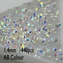 Load image into Gallery viewer, 1.0 to 1.6mm 1440pcs AB Chaton Nail Art Rhinestone Mini Rhinestone Micro Manicure Decoration