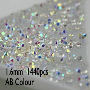 1.0 to 1.6mm 1440pcs AB Chaton Nail Art Rhinestone Mini Rhinestone Micro Manicure Decoration